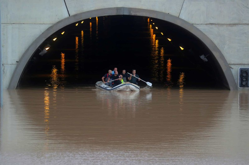 Lụt lớn ở Pilar de la Horadada, Alicante, Tây Ban Nha.